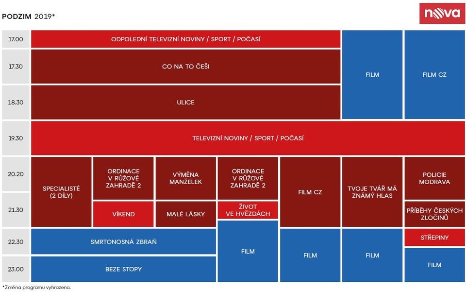 Programové schéma TV Nova - podzim 2019