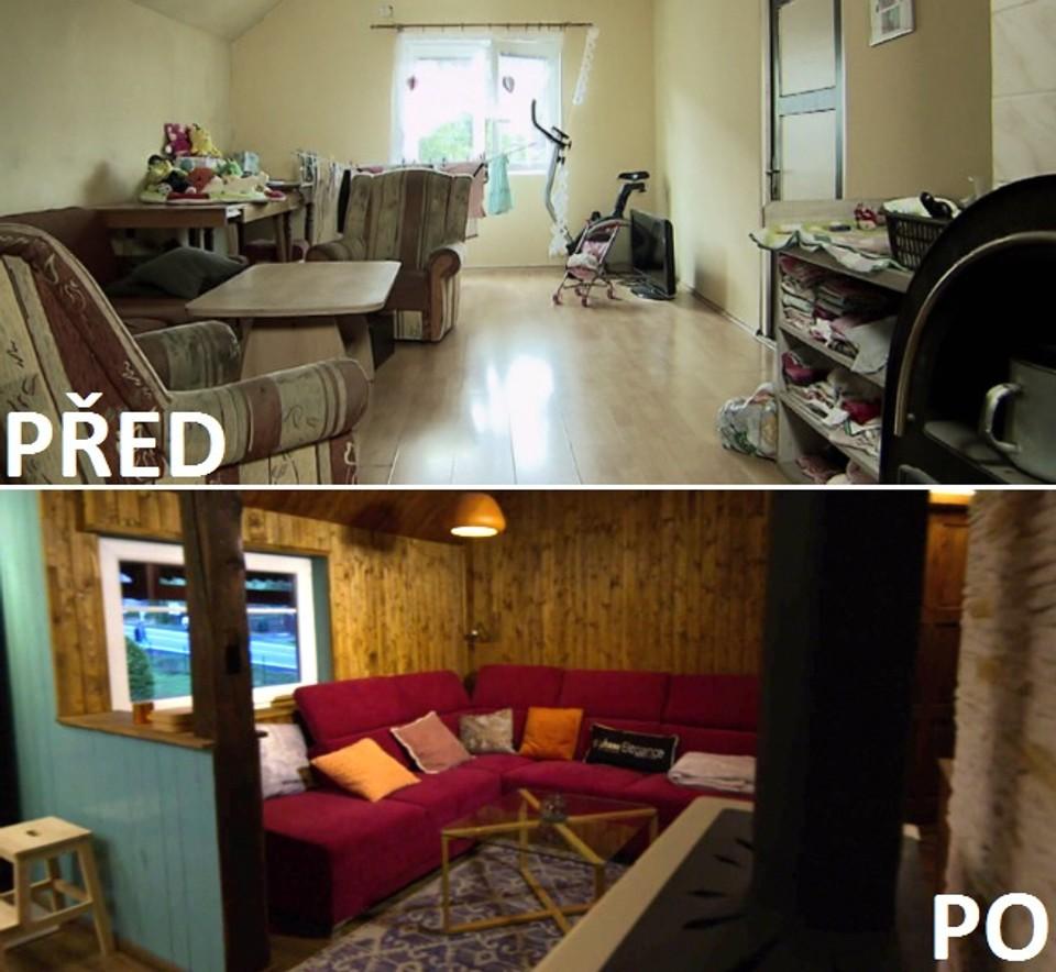PŘED A PO - obývací pokoj
